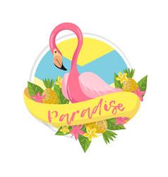 Paradise tropical summer label design element vector