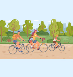 parents and children riding on bicycles in park vector image