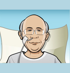 Patient with breathing tube vector