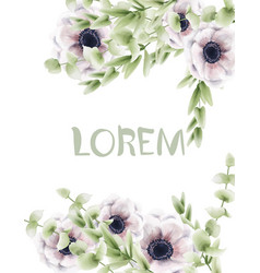 pink poppy floral card watercolor provence vector image