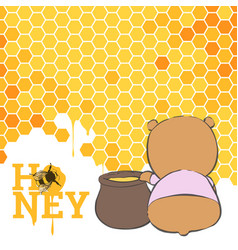 Postcard with a bear and honey vector
