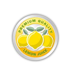 premium quality lemon juice badge with three vector image