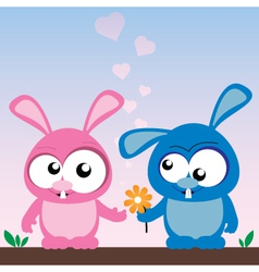 rabbits in love vector image