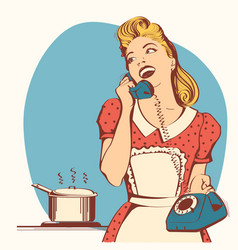 retro young woman talking on phone in her kitchen vector image