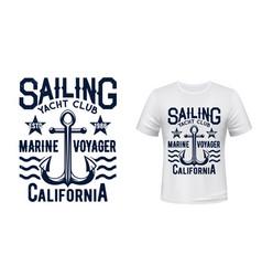 sailing and yachting club t-shirt print vector image