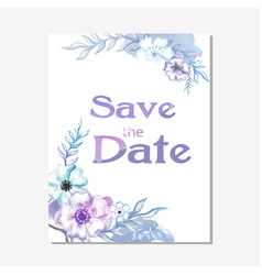 Save the date purple floral white background vector