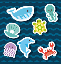 Sea life icons set flat draw vector