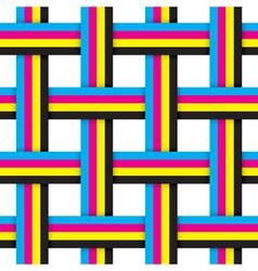 Seamless pattern with intersecting cmyk ribbons vector