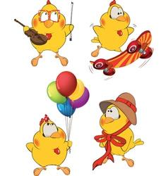 Set of Chicken Cartoons vector image