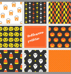 set of halloween seamless pattern flat design vector image