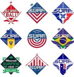 set vintage surfing logo design for tees or vector image