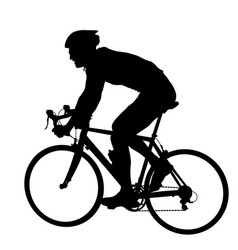 Silhouette of a cyclist male on white background vector