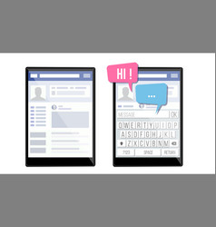 Social page on tablet speech bubbles application vector
