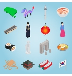 South Korea set icons isometric 3d style vector image