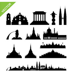 Southeast asia cities landmark and skyline vector