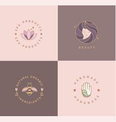 spa productsbeautynatural foodhandmade-logos vector image