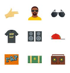 Street rap icon set flat style vector