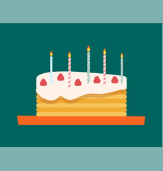 Sweet cake with candles baked for holiday birthday vector