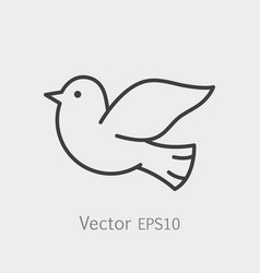 symbol of peace dove thin line icon stroke vector image