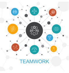 Teamwork trendy web concept with icons contains vector