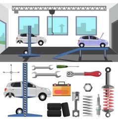 Tire service center of car vector image