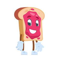 toast cartoon character cute cartoon food vector image