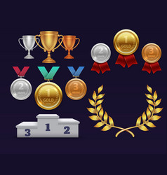 Trophy awards gold cup and golden laurel wreath vector
