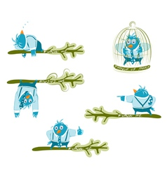 Twitter blue birds set vector