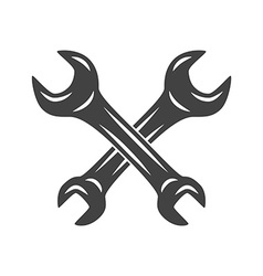 Two crossed wrenches logo elements black and white vector