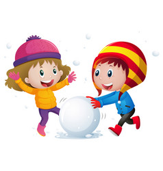 Two kids playing snowball in the field vector