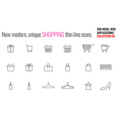 unique modern shopping thin line and flat icon vector image