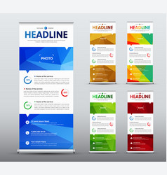Vertical roll up banner desig with abstract vector