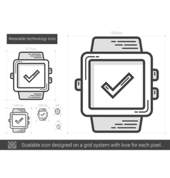 Wearable technology line icon vector