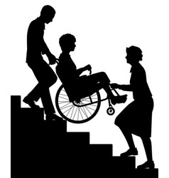 Wheelchair upstairs assist silhouette vector