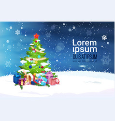 winter holidays decoration design christmas tree vector image