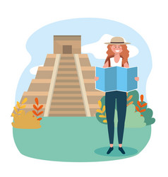 Woman wearing hat with global map and temple vector