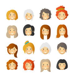 women with rosy cheeks avatars and emoticons set vector image