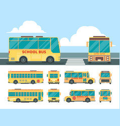 yellow bus school daily transport for kid bus in vector image