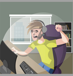 young man gamer playing computer games vector image