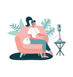 Young woman in headset recording podcasts online vector