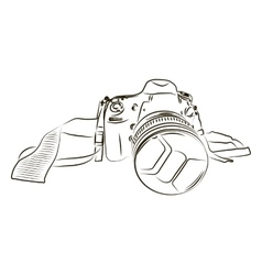 Black camera sketch on a white background vector image vector image