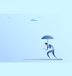 business man hold umbrella stand rain protection vector image