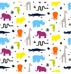 colorful zoo animal silhouettes baby seamless vector image vector image