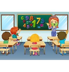 Math teacher teaching in classroom vector image vector image