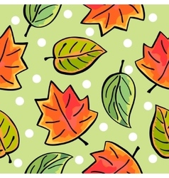 Seamless hand drawn autumn leaves pattern vector image