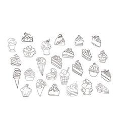 sweet dessert background doodle set vector image