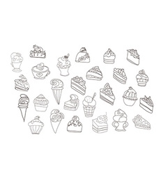 sweet dessert background doodle set vector image vector image