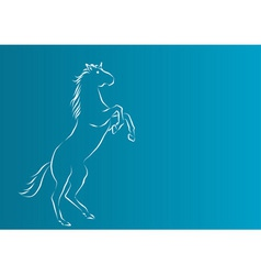 white silhouette of horse on the blue background vector image vector image