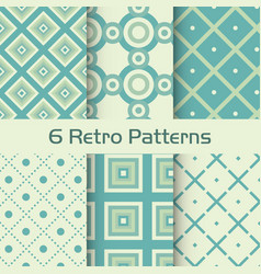 6 retro patterns set vector image