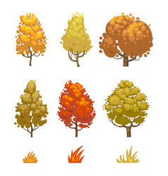 cartoon style autumn trees and grass isolated on vector image vector image